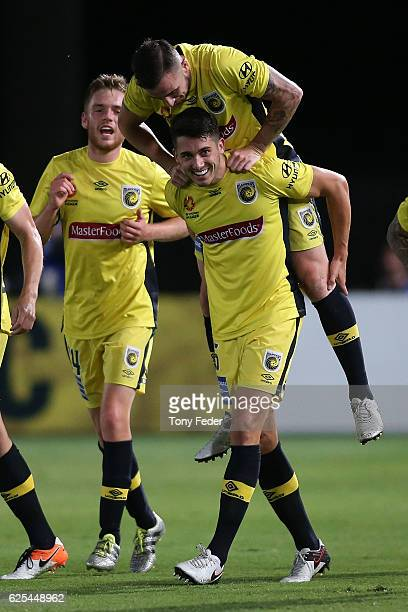 Harry Ascroft of the Mariners celebrates a goal with team mate Roy O'Donovan during the round eight ALeague match between the Central Coast Mariners...