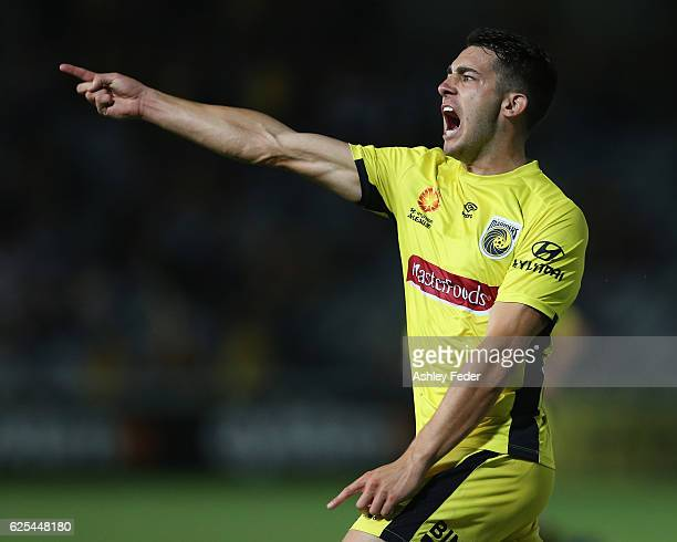 Harry Ascroft of the Mariners celebrates his goal during the round eight ALeague match between the Central Coast Mariners and the Perth Glory at...
