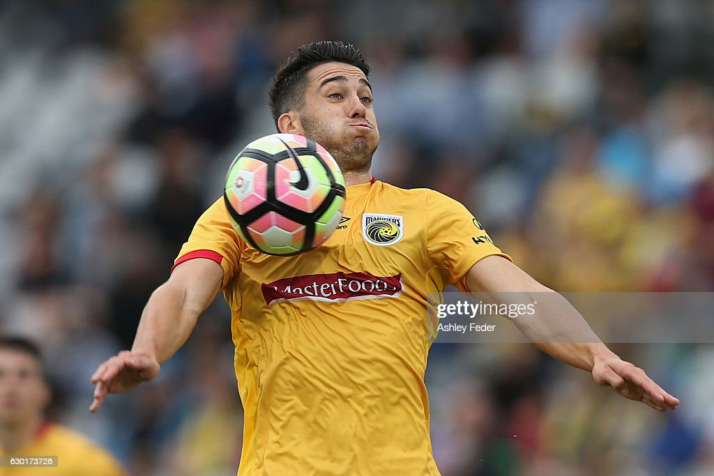 Harry Ascroft of the Mariners in action during the round 11 A-League match between the Central Coast Mariners and Brisbane Roar at Central Coast Stadium on December 18, 2016 in Gosford, Australia.