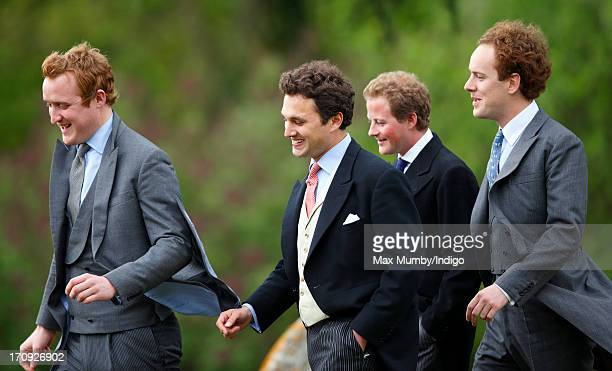 Harry AubreyFletcher Thomas van Straubenzee Guy Pelly and Tom Inskip attend the wedding of William van Cutsem and Rosie Ruck Keene at the church of...