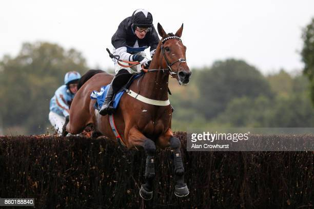 Harry Bannister riding Big Martre clear the last to win The Vera Davies Memorial Steeple Chase at Ludlow racecourse on October 11 2017 in Ludlow...