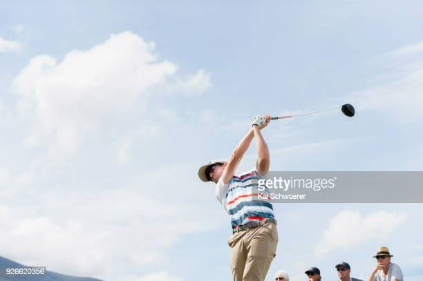 Harry Bateman of New Zealand tees off during day three of the ISPS Handa New Zealand Golf Open at Millbrook Golf Resort on March 3 2018 in Queenstown...