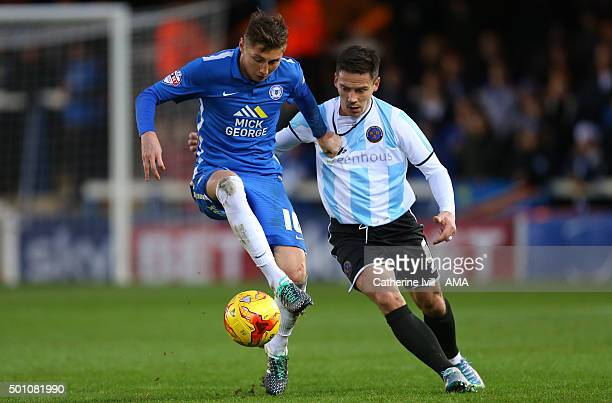 Harry Beautyman of Peterborough United and Ian Black of Shrewsbury Town during the Sky Bet League One match between Peterborough United and...
