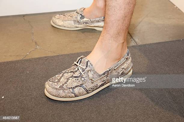 21afd9918ba Harry Bee wearing Jeffrey Limited Edition Sperry TopSiders attends Art  Basel Miami Beach 2013 at the