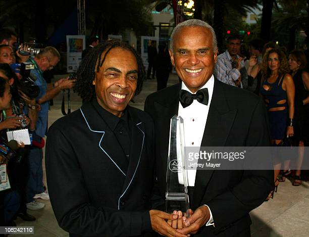 Harry Belafonte and Gilberto Gil during The 4th Annual Latin GRAMMY Awards 2003 LARAS Person of The Year Arrivals at Loews Miami Beach in Miami...