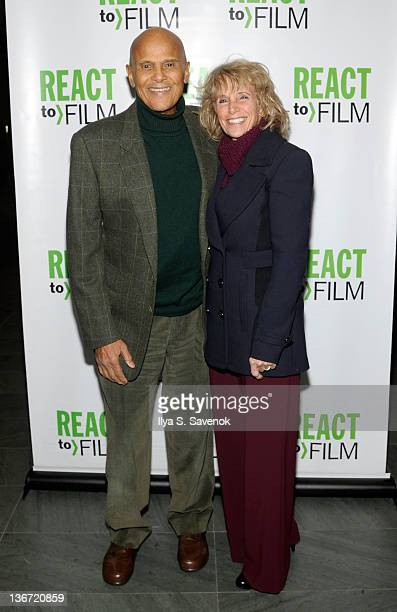 Harry Belafonte and his wife Pamela attend the Sing Your Song screening at the Museum of Modern Art on January 10 2012 in New York City