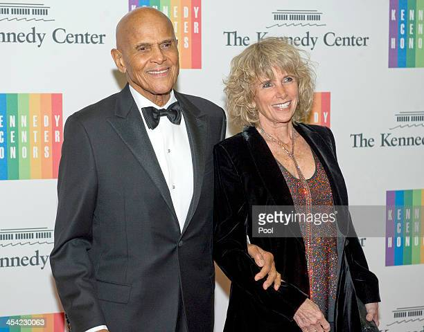 Harry Belafonte and Pamela Belafonte arrive at the formal Artist's Dinner honoring the recipients of the 2013 Kennedy Center Honors hosted by United...