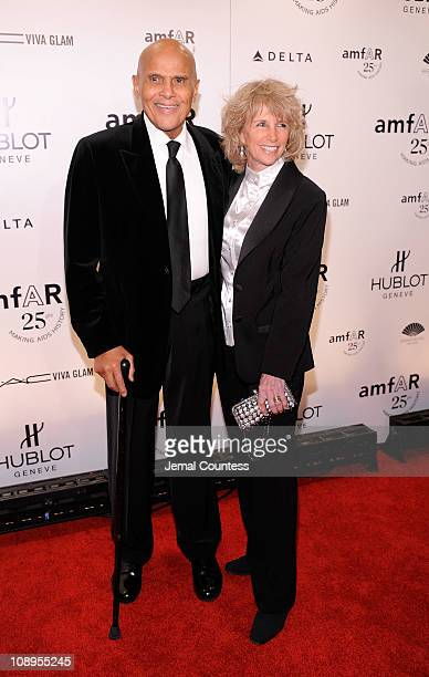 Harry Belafonte and Pamela Belafonte attend the amfAR New York Gala to kick off Fall 2011 Fashion Week at Cipriani Wall Street on February 9 2011 in...
