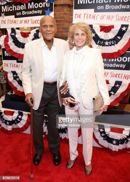 Harry Belafonte and Pamela Frank attend the Broadway Opening Night Performance for 'Michael Moore on Broadway' at the Belasco Theatre on August 10...