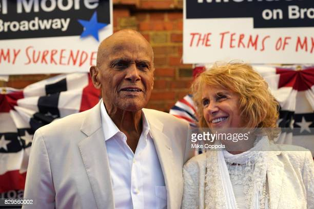 Harry Belafonte and Pamela Frank attend The Terms Of My Surrender Broadway Opening Night at Belasco Theatre on August 10 2017 in New York City
