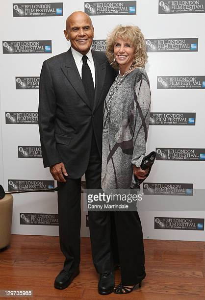 Harry Belafonte and wife Pamela Belafonte attend the screening of 'Sing Your Song' at The 55th BFI London Film Festival at Vue West End on October 20...
