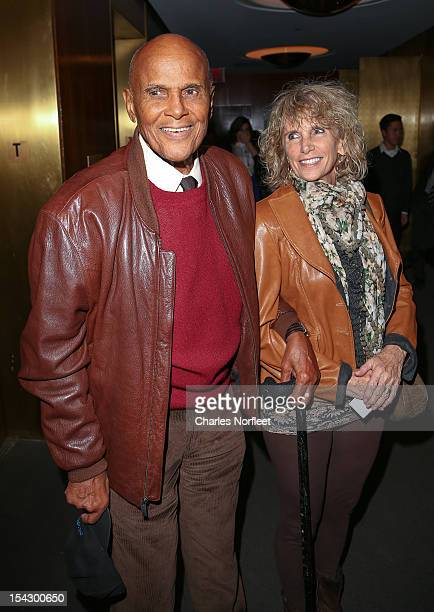 Harry Belafonte and wife Pamela Frank attend the Chasing Ice premiere at the Museum of Art and Design on October 17 2012 in New York City