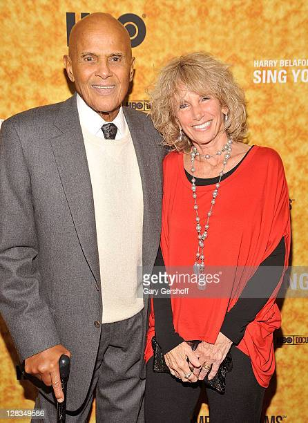 Harry Belafonte and wife Pamela Frank attend the Sing Your Song screening at The Apollo Theater on October 6 2011 in New York City