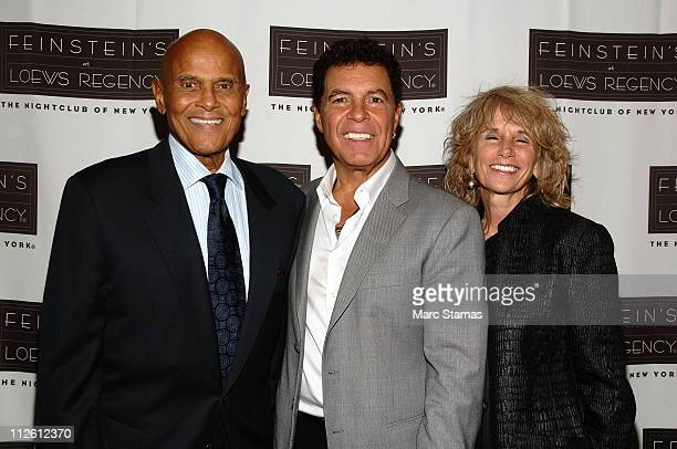 Harry Belafonte Clint Holmes and Pamela Belafonte attend Clint Holmes' performance at Feinstein's at Loews Regency Ballroom on April 19 2011 in New...