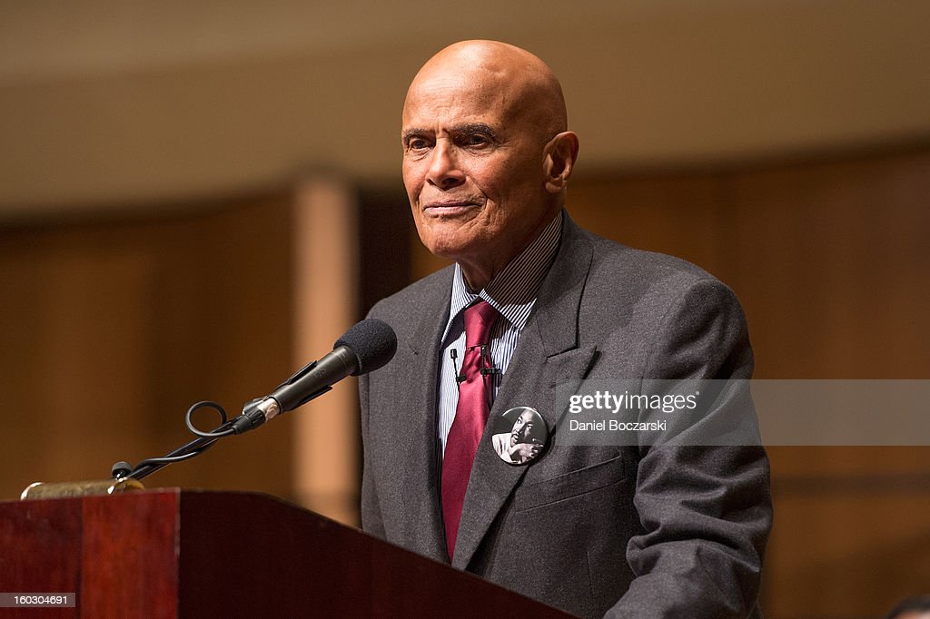 Harry Belafonte delivers the Martin Luther King Jr. Day keynote address at Northwestern University on January 28, 2013 in Evanston, Illinois.