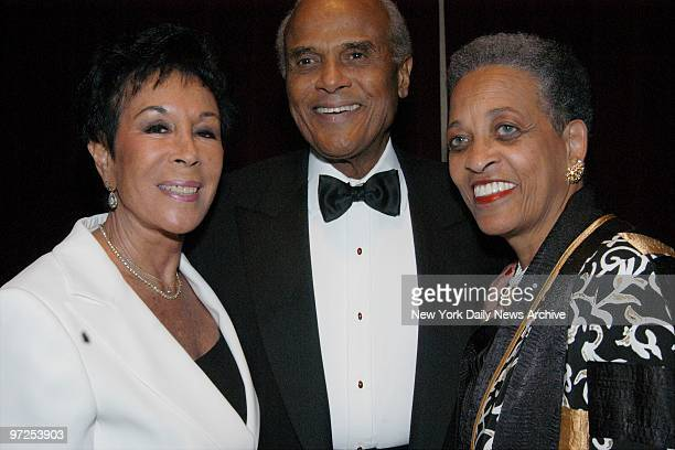 Harry Belafonte is joined by wife Julie and Johnnetta Cole president of Bennett College for The Legacy Continues a fundraising gala for the...