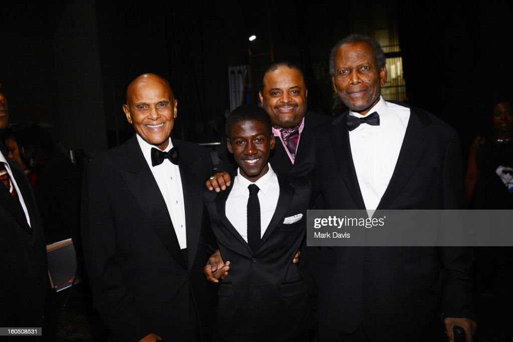 Harry Belafonte, Kwesi Boakye, Roland Martin and Sidney Poitier attend the 44th NAACP Image Awards at The Shrine Auditorium on February 1, 2013 in Los Angeles, California.