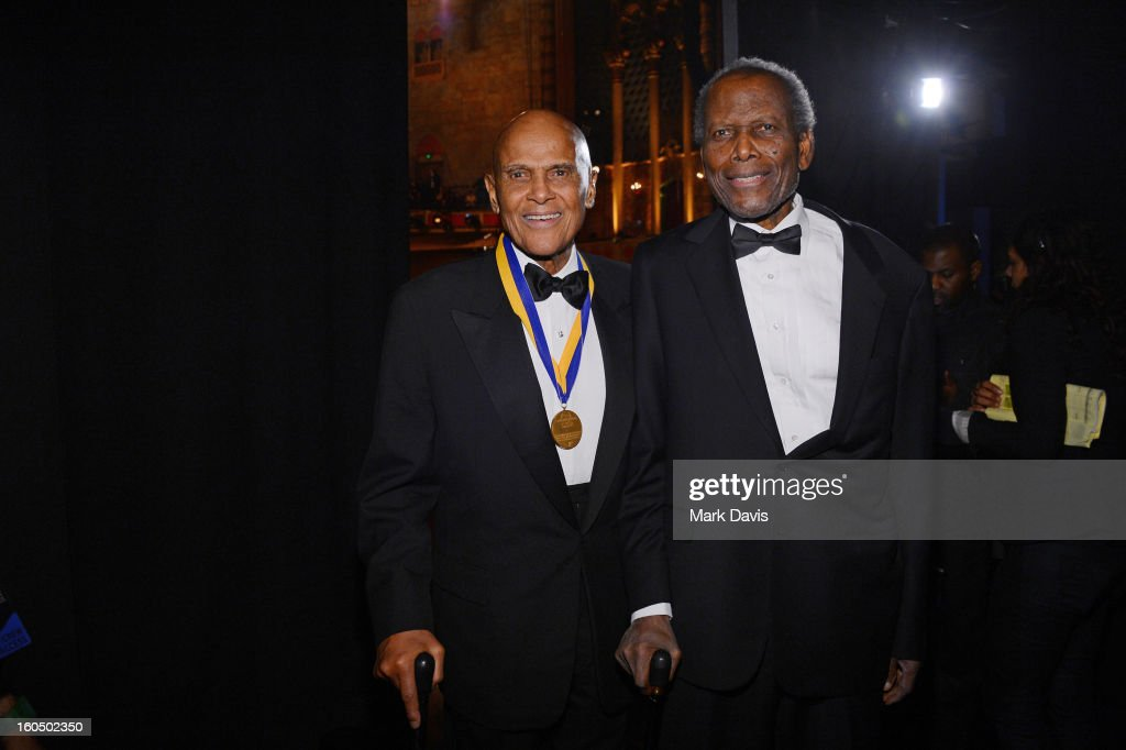 Harry Belafonte, Sidney Poitier attends the 44th NAACP Image Awards at The Shrine Auditorium on February 1, 2013 in Los Angeles, California.