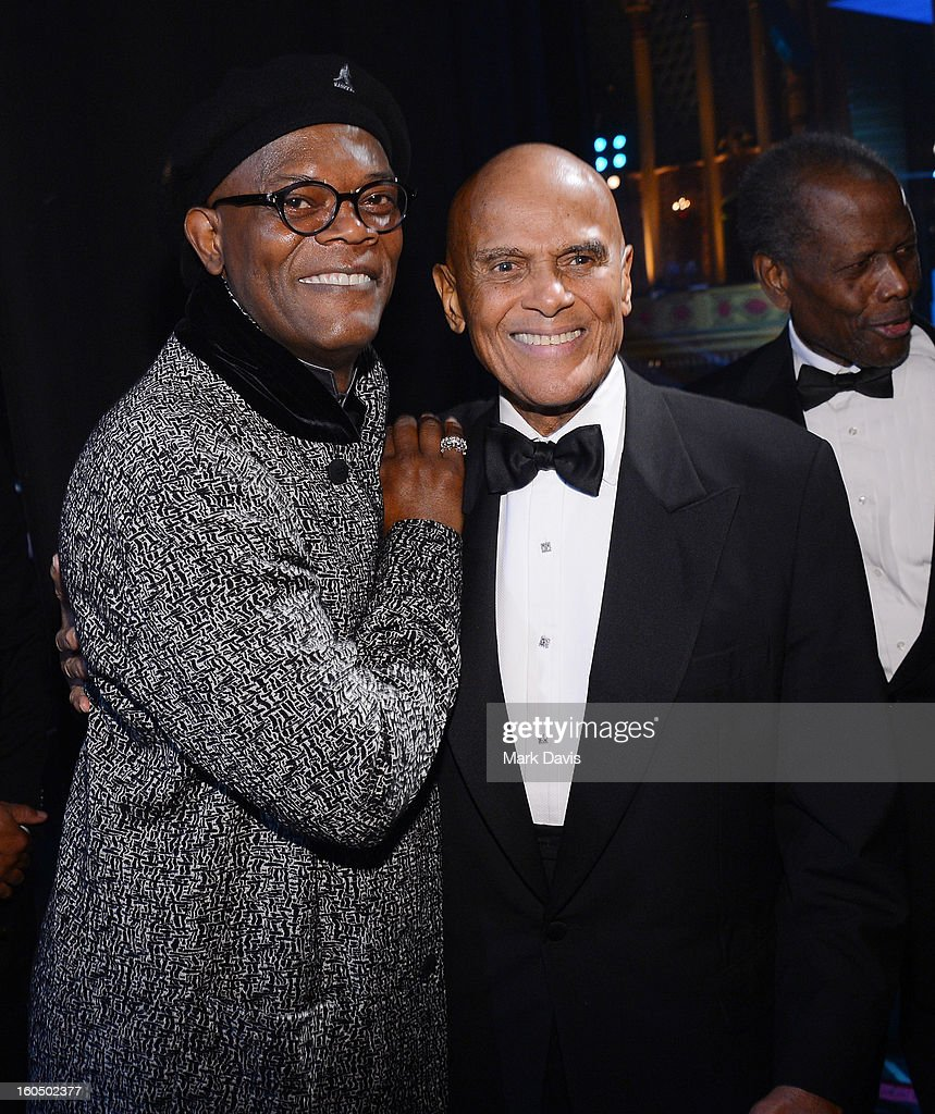 Harry Belafonte;Sidney Poitier;Samuel L. Jackson, Harry Belafonte and Sidney Poitier attend the 44th NAACP Image Awards at The Shrine Auditorium on February 1, 2013 in Los Angeles, California.