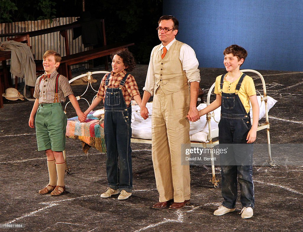 Harry Bennett, Izzy Lee, Robert Sean Leonard and Adam Scotland take a curtain call after performing in 'To Kill A Mockingbird' at Regents Park Open Air Theatre on May 22, 2013 in London, England.