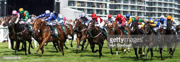 Harry Bentley riding Ginger Nut win The Weatherbys Super Sprint Stakes at Newbury Racecourse on July 21 2018 in Newbury United Kingdom