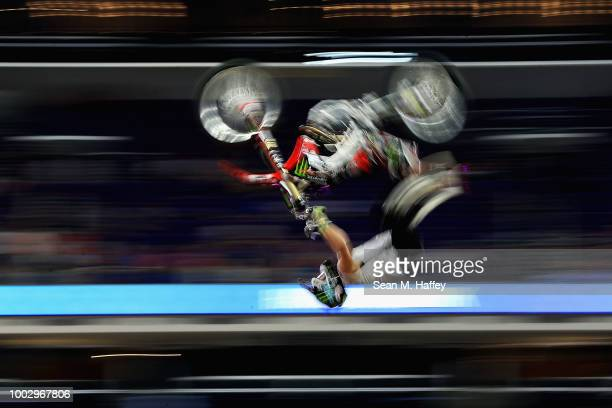 Axell Hodges competes in the Moto X QuarterPipe High Air event of the ESPN XGames at US Bank Stadium on July 20 2018 in Minneapolis Minnesota Hodges...