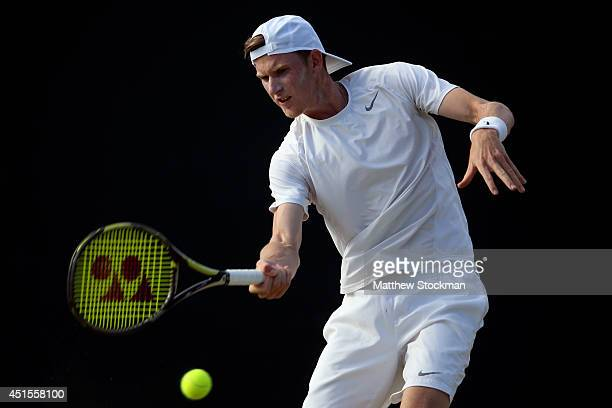 Harry Bourchier of Australia during his Boys' Singles second round match against Tim Van Rijthoven of Netherlands on day eight of the Wimbledon Lawn...