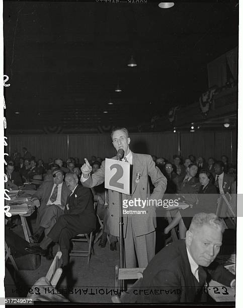 Harry Bridges the head of the West Coast Longshoremen's Union is shown during his speech before the CIO Convention delegates yesterday He hotly...