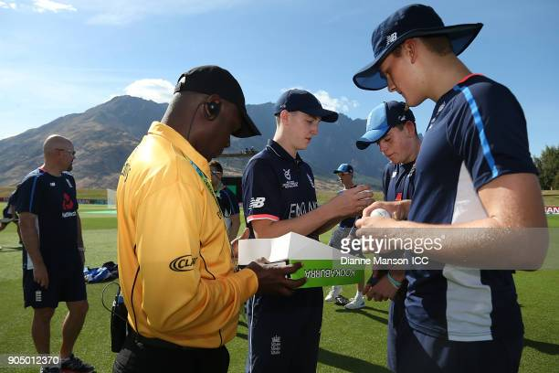 Harry Brook of England and teammates select match balls ahead of the ICC U19 Cricket World Cup match between England and Namibia at John Davies Oval...