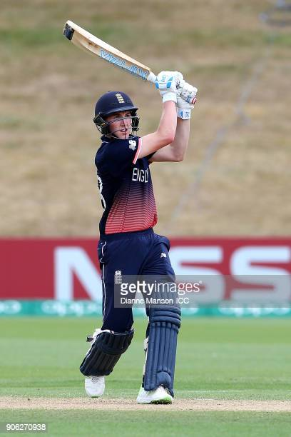 Harry Brook of England bats a six during the ICC U19 Cricket World Cup match between Bangladesh and England at John Davies on January 18 2018 in...
