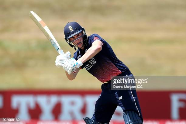 Harry Brook of England bats during the ICC U19 Cricket World Cup match between England and Namibia at John Davies Oval on January 15 2018 in...