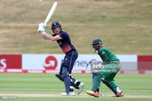 Harry Brook of England bats during the ICC U19 Cricket World Cup match between Bangladesh and England at John Davies on January 18 2018 in Queenstown...