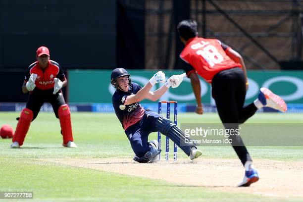 Harry Brook of England bats during the ICC U19 Cricket World Cup match between England and Canada at John Davies Oval on January 20 2018 in...