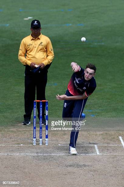 Harry Brook of England bowls during the ICC U19 Cricket World Cup match between England and Canada at John Davies Oval on January 20 2018 in...