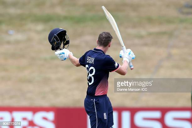 Harry Brook of England celebrates his century during the ICC U19 Cricket World Cup match between Bangladesh and England at John Davies on January 18...