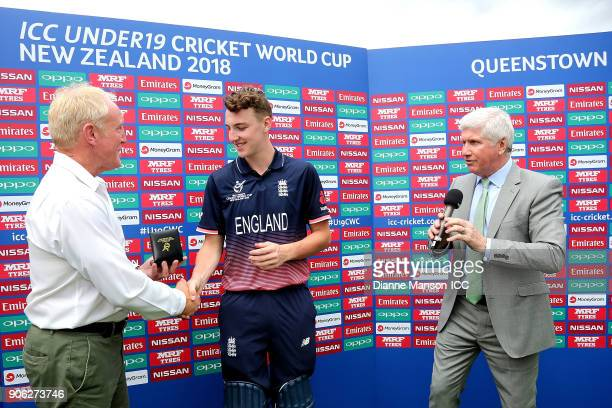 Harry Brook of England is presented player of the match during the ICC U19 Cricket World Cup match between Bangladesh and England at John Davies on...