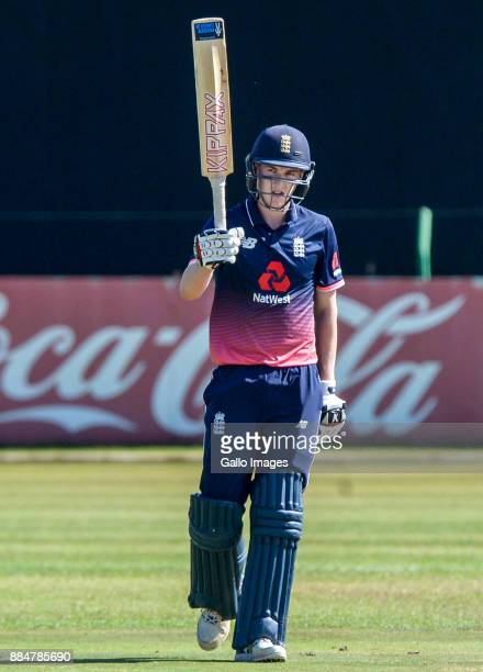 Harry Brook of England on the occasion of his half century during the U/19 Tri Series match between South Africa and England at Senwes Park on...