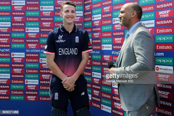 Harry Brook of England speaks to media after the ICC U19 Cricket World Cup match between England and Namibia at John Davies Oval on January 15 2018...