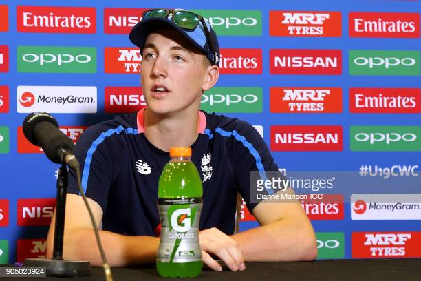 Harry Brook of England speaks to media at the press conference after the ICC U19 Cricket World Cup match between England and Namibia at John Davies...