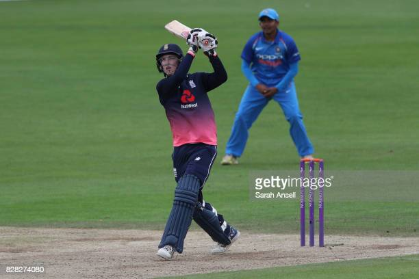 Harry Brook of England U19s hits a boundary during the match between England Under 19s and India U19s at The Spitfire Ground on August 9 2017 in...