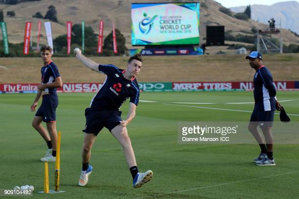 Harry Brook of England warms up ahead of the ICC U19 Cricket World Cup Quarter Final match between England and Australia at John Davies Oval on...