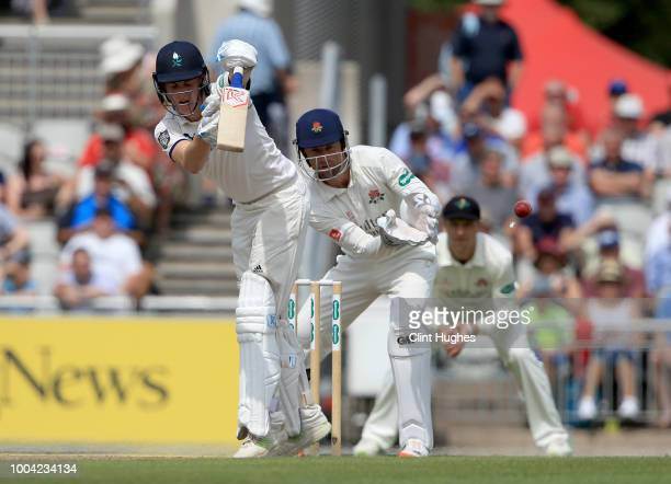 Harry Brook of Yorkshire bats during day two of the Specsavers County Championship division one match between Lancashire and Yorkshire at Emirates...