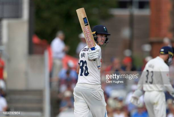 Harry Brook of Yorkshire celebrates after he reaches a half century during day two of the Specsavers County Championship division one match between...