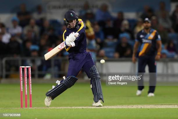 Harry Brook of Yorkshire hits the ball for six runs during the Vitality Blast match between Yorkshire Vikings and Derbyshire Falcons at Headingley on...
