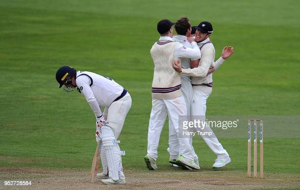 Harry Brook of Yorkshire reacts as he is dismissed by Josh Davey of Somerset during day three of the Specsavers County Championship Division One...
