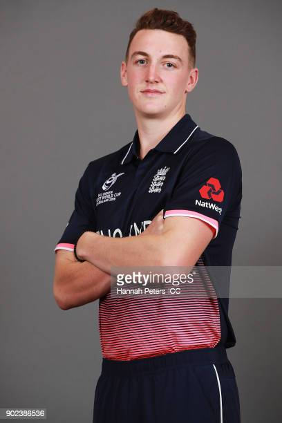 Harry Brook poses during the England ICC U19 Cricket World Cup Headshots Session at Rydges Christchurch on January 8, 2018 in Christchurch, New...