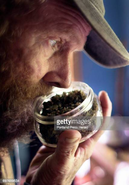 Harry Brown takes a whiff of homegrown dried marijuana at his home in Starks The town of 600 has long been Maine's epicenter of the legalizepot...