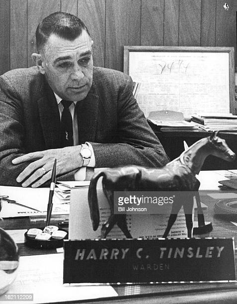 FEB 16 1962 FEB 18 1962 Harry C Tinsley Looking for room HARRY TINSLEY Looking for room Warden Harry C Tinsley sits at his desk in the prison He...