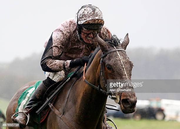 Harry Challoner riding Helamis celar the last to win The dribuild Construction Mares' Handicap Hurdel Race at Chepstow racecourse on November 18 2015...