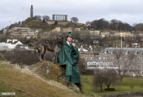 Harry Chamberlain with Lyra the bloodhound at the launch in Edinburgh of the Sherlock Holmes tartan which has been designed by the great great step...